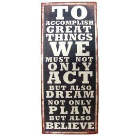 Pamper Hamper - Act - Plan and Believe Metal Plaque