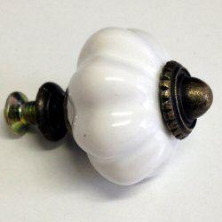 Pamper Hamper - Ceramic White Drawer Knob - White