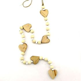 Pamper Hamper - String Of Natural Wooden Hearts and Beads Decoration