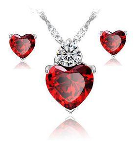 100% 925 Sterling Silver Red Heart Necklace and Earring Set