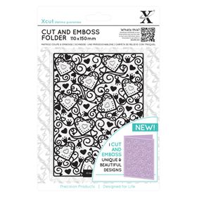 Xcut Cut & Emboss Folder - Heart Pattern