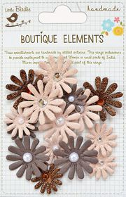 Little Birdie Jeweled Pearl Daisies - Clay Caramel