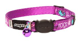 Rogz - Fancy Cat Safeloc Breakaway Collar - Purple Lovebirds Design