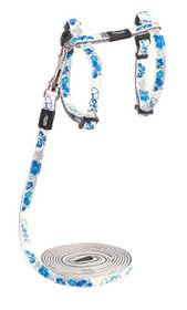 Rogz Glow Cat Reflective Glow-In-The-Dark Lead & H-Harness Combination - Blue Floral Design