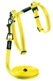 Rogz - Alley Cat Reflective Lead & H-Harness Combination - Dayglo Yellow
