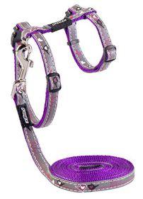 Rogz - 8mm NightCat Cat Lead/H-Harness - Purple Budgies