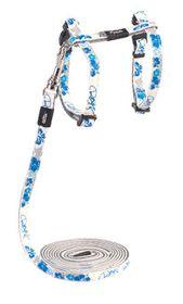 Rogz - 8mm GlowCat Cat Lead/H-Harness - Blue Floral