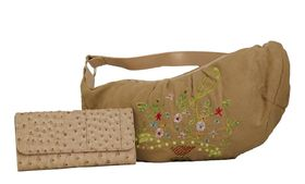 Fino Suede Embrioded Fashion Bag & Ostrich Leather Purse Value Set (T5-306 & A67-765) - Beige
