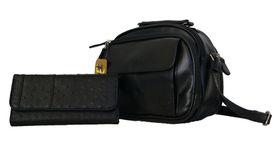 Fino Multi-Compartment PU Organizer Cross Body Shoulder Bag + Ostrich Leather Purse Value Pack (22001+A67/765) - Black