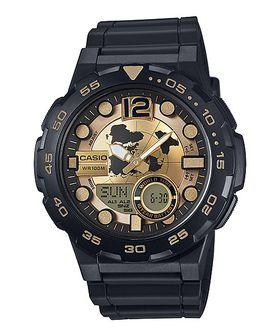 Casio Men's AEQ-100BW-9A Analog-Digital Round Watch - Black & Gold