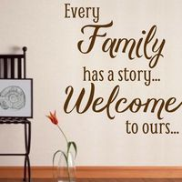 Vinyl Lady Decals Every Family Has a Story Quote Wall Art Sticker - Brown