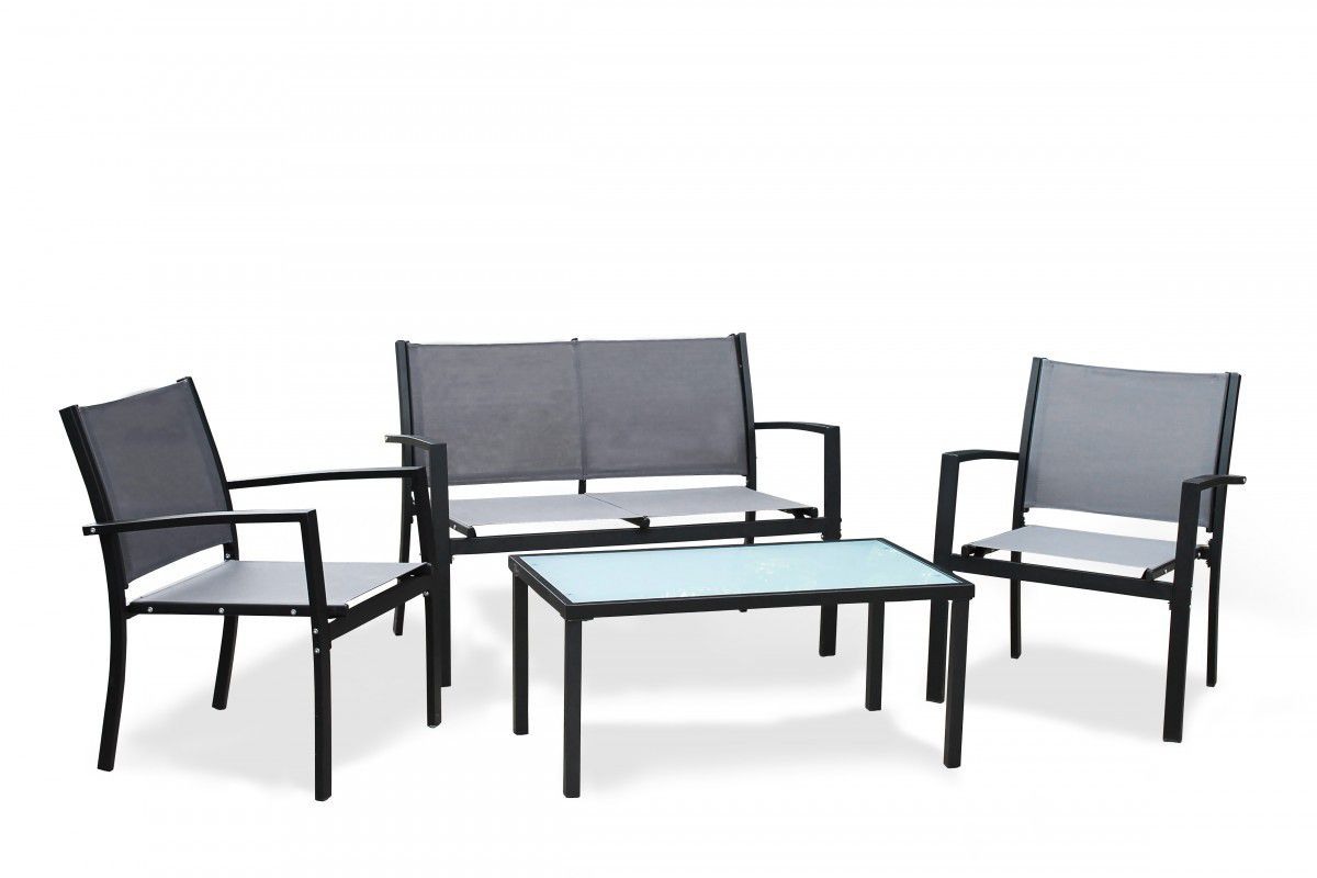 Fine Living   4 Piece Outdoor Steel Furniture   Black ...