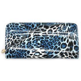 Lily&Rose Blue Leopard Print Zip Through Purse