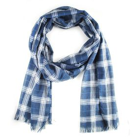 Lily & Rose Unisex Blue Checkered Scarf with Fringe Detail