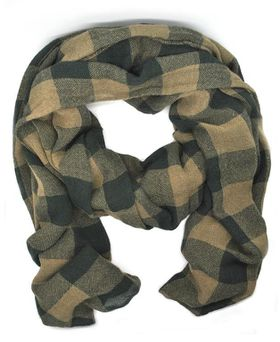 Lily&Rose Unisex Brown Checkered Scarf
