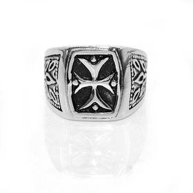 Xcalibur  Stainless Steel Gents Cross Signet Ring - TXR001