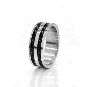 Xcalibur Stainless Steel Gents Black Strip Ring - TXR003