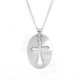 Xcalibur Stainless Steel Oval Cutout Cross Disk Pendant - TXN001