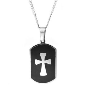 Xcalibur Stainless Steel Black Cross Disk Pendant on 55cm Curb Chain - TXN006