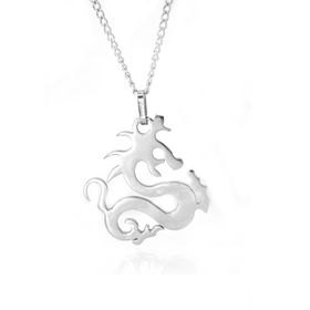 Xcalibur Stainless Steel Dragon Pendant on 55cm Curb Chain - TXN010