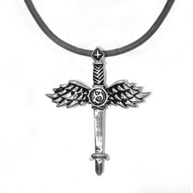 Xcalibur Stainless Steel Winged Dagger Pendant on 55cm Leather Thong - TXN012