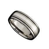 Martin Nagel Jewellers Gents Titanium Ring with Silver Inlay C29536