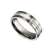 Martin Nagel Jewellers Gents Titanium Ring with Silver Inlay C25287