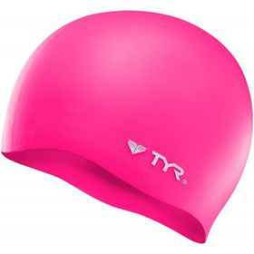TYR Wrinkle Free Silicone Swimming Cap - Pink/Silver