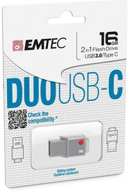 Emtec T400 USB-C (DUO) USB 3.0 Flash Drive - 16GB