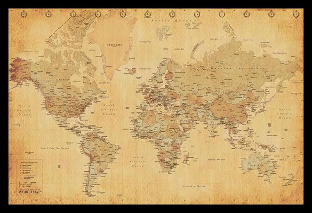 World map vintage with black frame buy online in south africa world map vintage with black frame gumiabroncs Choice Image