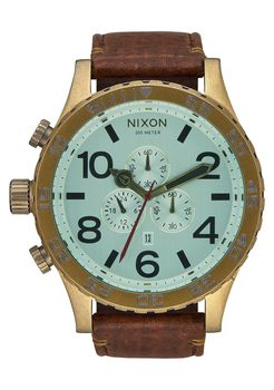 Nixon 51-30 Chrono Leatehr Brass Green Crystal Brown Watch - A1242223-00