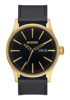 Nixon Sentry Leather Gold Black Watch - A105513-00