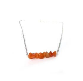 Lakota Inspirations Gemstone Bar Necklace- Carnelian
