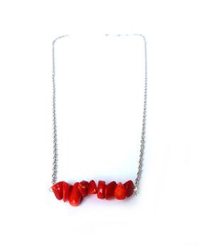 Lakota Inspirations Gemstone Bar Necklace- Red Coral