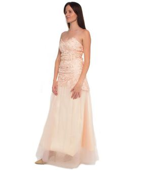 Snow White Scalloped Lace Sweetheart Evening Dress - Nude Pink