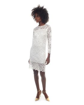 Snow White Lace Half-Sleeve Cocktail Dress - White