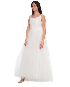 Snow White Mini-Cup Sleeve Princess Wedding Gown - White