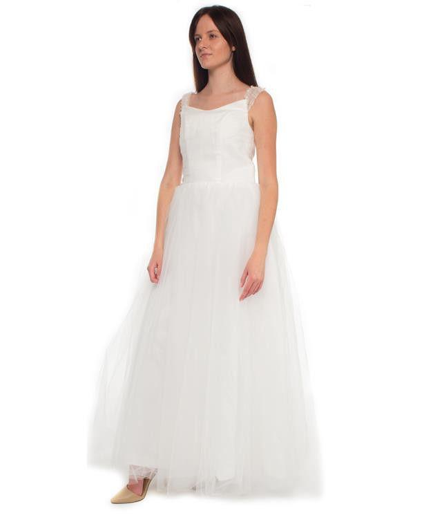 Snow White Mini-cup Sleeve Princess Wedding Gown - White | Buy ...