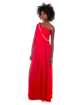 Snow White Sash One-Shoulder Evening/Bridesmaid Dress - Red
