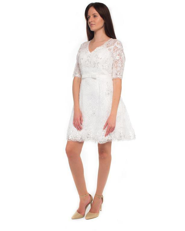 Snow White Vintage Lace 3/4-sleeve Short Wedding Dress - White | Buy ...