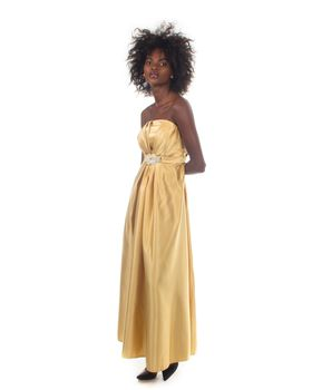 Snow White Strapless Glossy Evening/Bridesmaid Gown - Gold