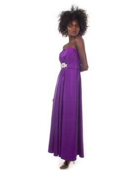 Snow White Strapless Glossy Evening/Bridesmaid Gown - Purple