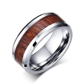 Tungsten Ring - High-Tech High Strength with Simulated Wood Grain Insert Silver & Brown