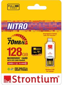 Strontium 128GB nitro Micro SDHC 466X UHS-1 Card with OTG & USB Reader