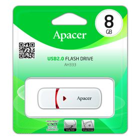 Apacer AH333 8GB USB2.0 Flash Drive - White