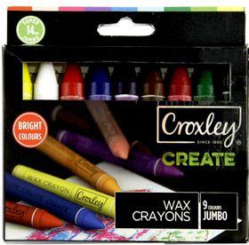 Croxely Create 14mm Jumbo Wax Crayons (Box of 9 Colours)