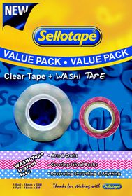 Sellotape Clear Tape 12mm x 33m Plus Washi Tape