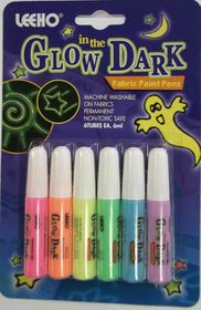 Leeho Glow in the Dark Fabric Paint Pens - 6 Colours