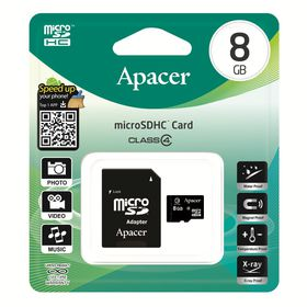 Apacer 8GB MicroSDHC Card with Adaptor - Class 4