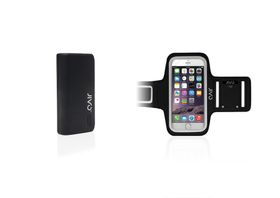 JIVO Fuel Pod 4400Mah Power Bank - Black + JIVO Universal Sports Armband for SmartPhones - Black